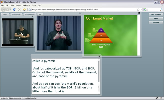 Screen capture of ClassInFocus showing the slides, presenter, interpreter, and captions.